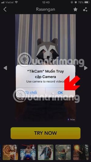 Cho phép TikCam truy cập vào camera