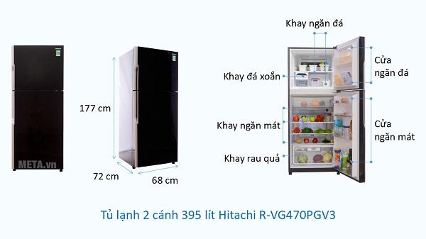 Kích thước Tủ lạnh 2 cánh 395 lít Hitachi R-VG470PGV3