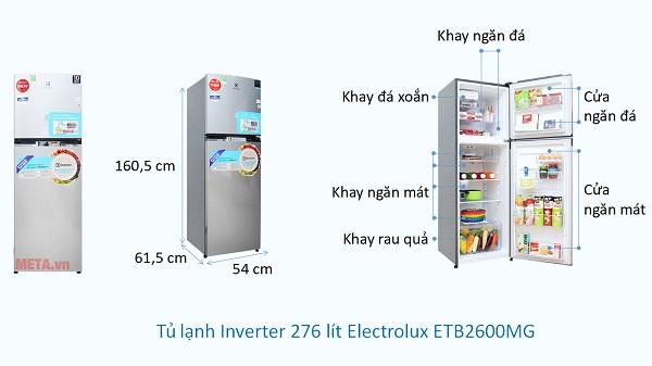 Kích thước Tủ lạnh Inverter 276 lít Electrolux ETB2600MG