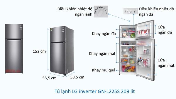 Kích thước Tủ lạnh LG Inverter GN-L225S 209 lít