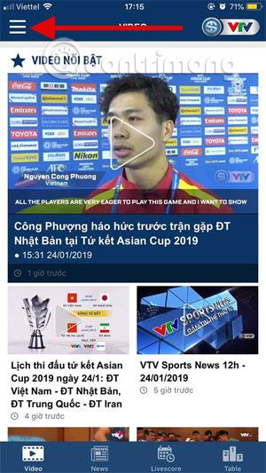 Giao diện chính VTV Sport