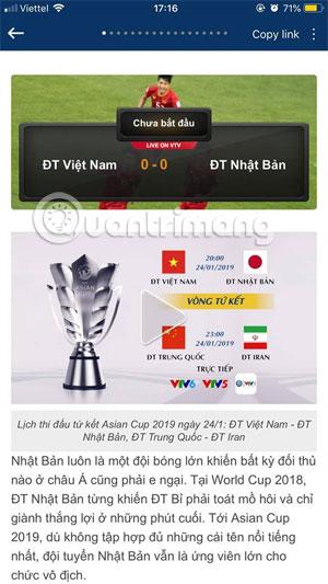 Chọn trình phát trực tiếp Asian Cup 2019