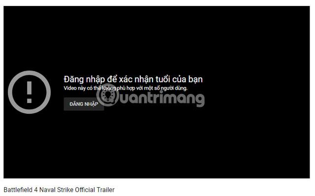 Yêu cầu đăng nhập Youtube
