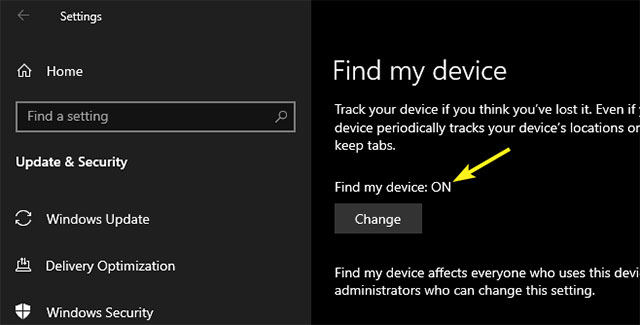 Chuyển đổi công tắc trong mục Save my device's location periodically thành ON
