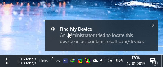 Ngay khi bạn nhấp vào liên kết Find my device, Microsoft sẽ cố gắng thu thập các dữ liệu về vị trí của thiết bị