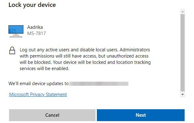 Trong cửa sổ bật lên, bạn nhấp vào nút Next và Microsoft sẽ tiến hành khóa thiết bị của bạn.