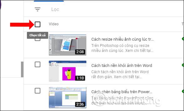 Chọn tất cả video