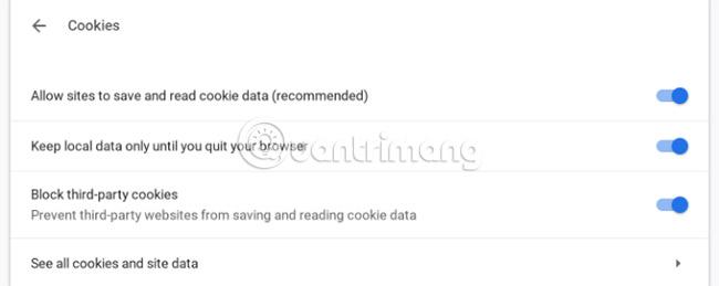 Giới hạn các cookie