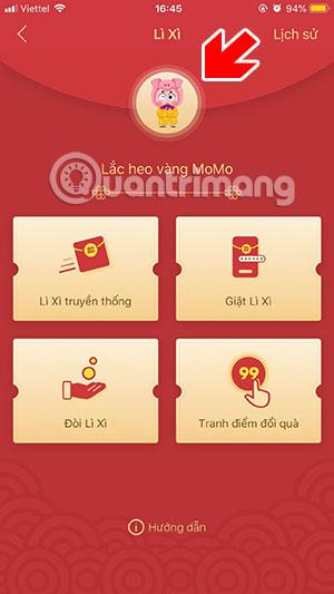 Bấm biểu tượng heo vàng Momo