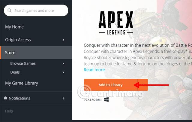 Thêm Apex Legends vào thư viện game