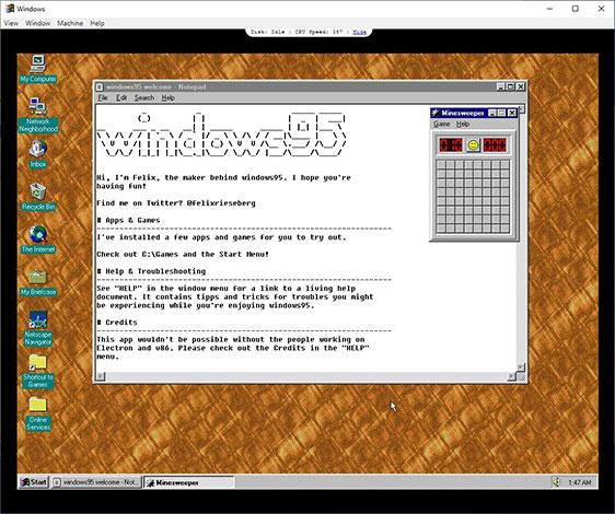 Khi được khởi chạy, ứng dụng sẽ hiển thị môi trường máy tính để bàn Windows 95