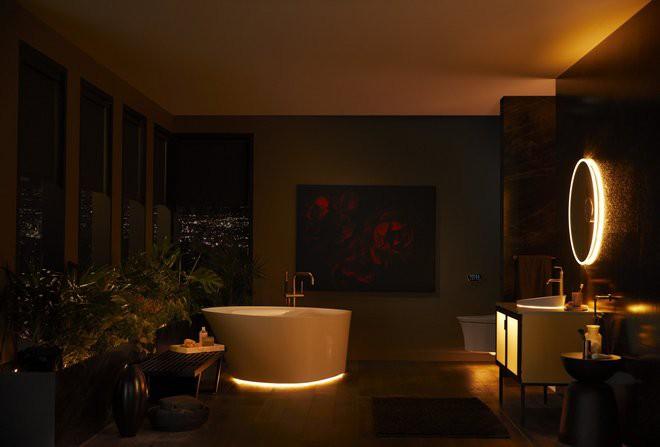 Toàn cảnh nhà tắm hiện đại khi được trang bị các sản phẩm hiện đại, thông minh trong bộ sưu tập mang tên Veil Lighted