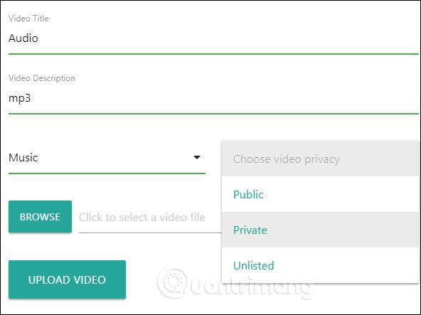 Nhập thông tin video upload