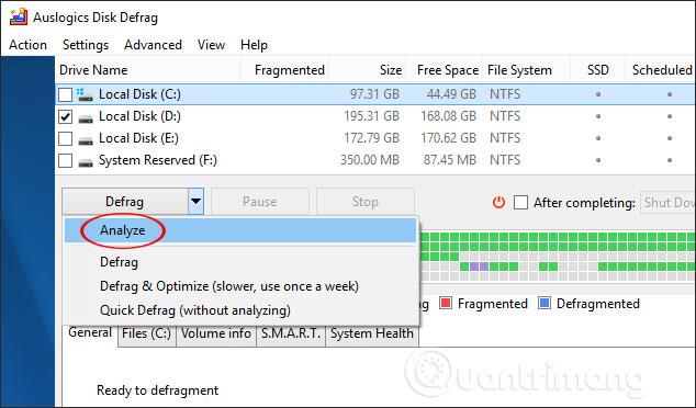 cách dùng auslogics disk defrag chống phân mảnh ổ cứng