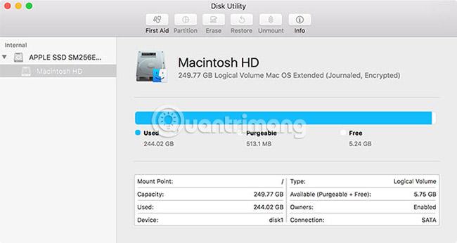 Disk Utility trên macOS