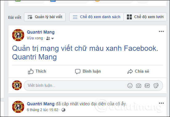 Cách viết chữ màu xanh, viết status, bình luận trên Facebook - Ảnh minh hoạ 5