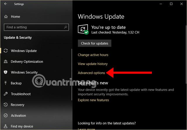 Chọn Cài đặt nâng cao của Windows Update