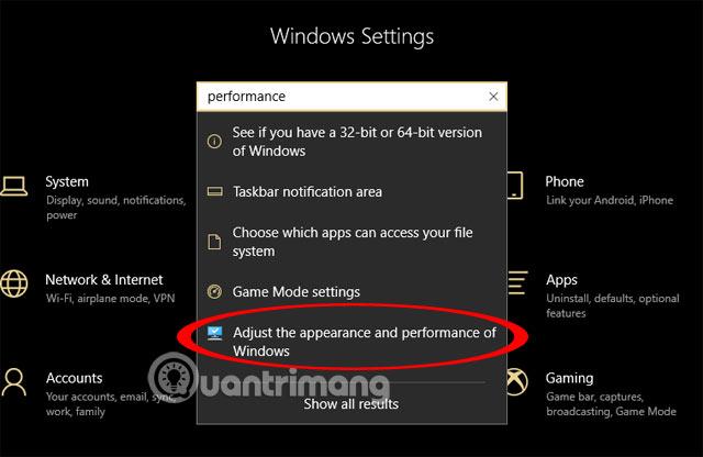 Chọn Điều chỉnh giao diện và hiệu suất của Windows