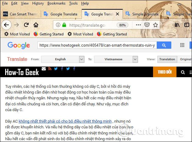 Dịch trên Google
