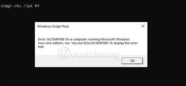 Lỗi non-core xuất hiện nếu key không chính xác