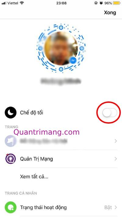 Bật chế độ nền tối trên Messenger cho iOS