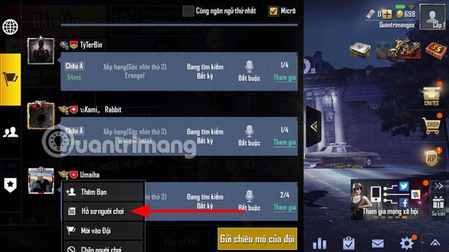 Xem hồ sơ người chơi PUBG Mobile