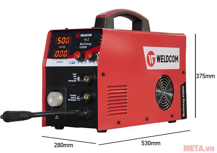 Kích thước máy hàn Mig Weldcom V2000