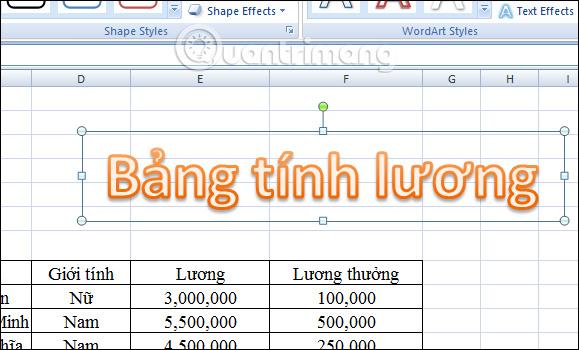 Cách chèn WordArt trong Excel - Ảnh minh hoạ 2
