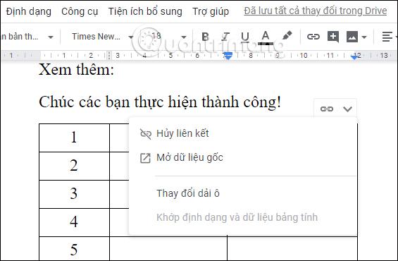 Cách chèn bảng Google Sheets vào Google Docs - Ảnh minh hoạ 6