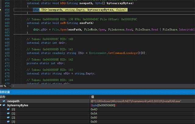 Sau đó, bắt đầu tiến trình InstallUtil.exe và tiêm tệp máy chủ PE của Trojan:
