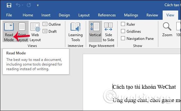 Cách mở văn bản Word nền đen