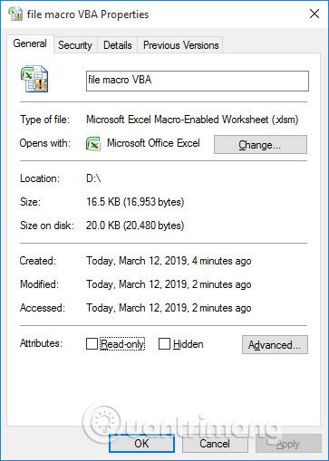 Định dạng file VBA