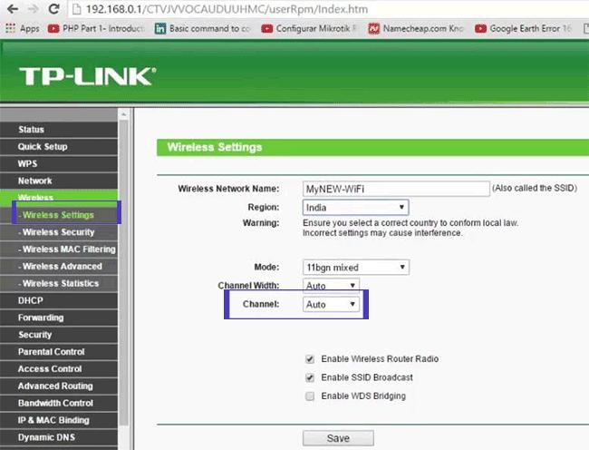 Đổi kênh cho router TP-Link