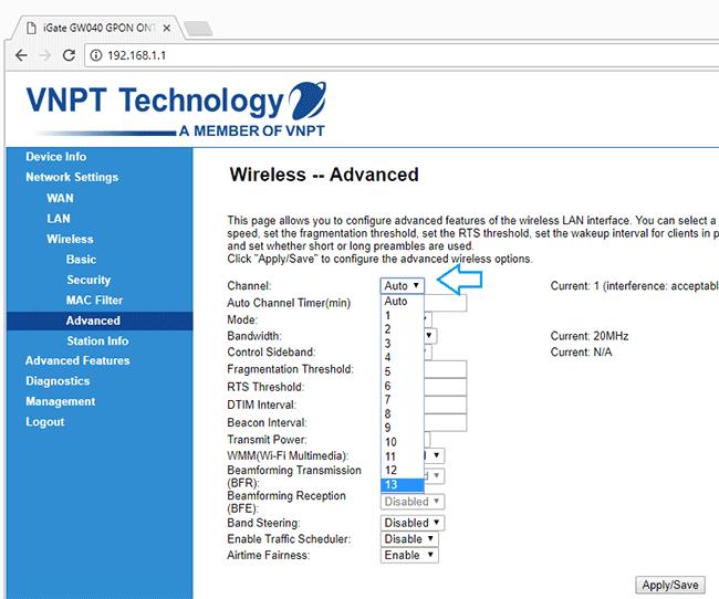 Đổi kênh cho router VNPT