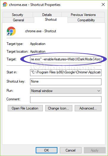 """Thêm cụm --enable-features=WebUIDarkMode --force-dark-mode vào trường Target, đằng sau cụm từ """"chrome.exe"""""""
