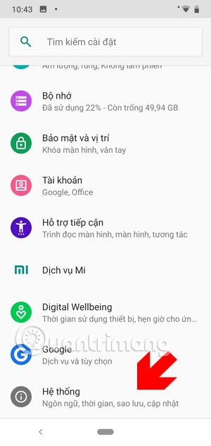 Giao diện cài đặt Android