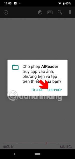 Cho phép AlReader truy cập vào bộ nhớ của bạn
