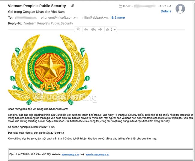 Nội dung email chứa mã độc GandCrab