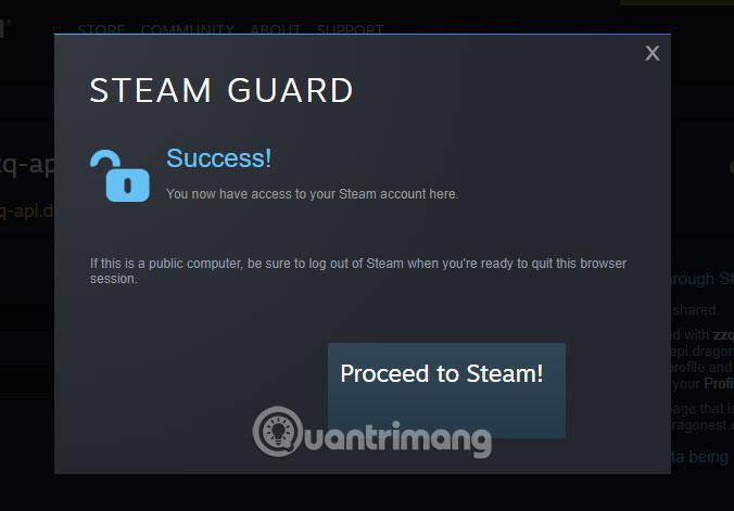 Xác nhận nhận thưởng Steam