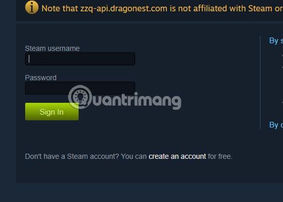 Đăng nhập tài khoản Steam