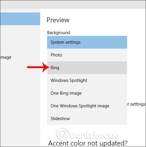 Chọn hình nền từ Bing