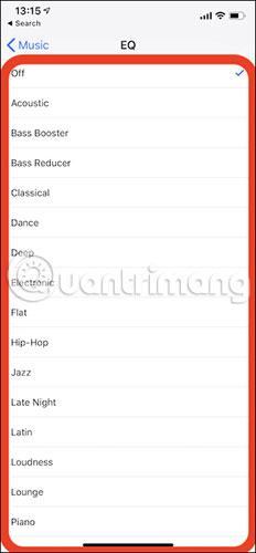 Các tùy chọn trên iOS 12.1.4