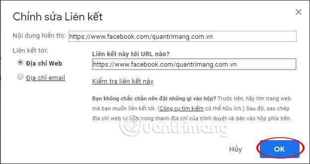 Chèn URL trang web