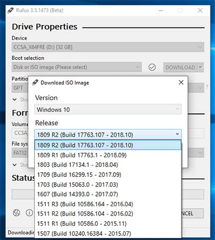 Rufus sẽ tiến hành tải xuống tập lệnh PowerShell khi bạn chọn tùy chọn download (bạn phải nhấp vào nút tải xuống sau khi chọn để bắt đầu quá trình).