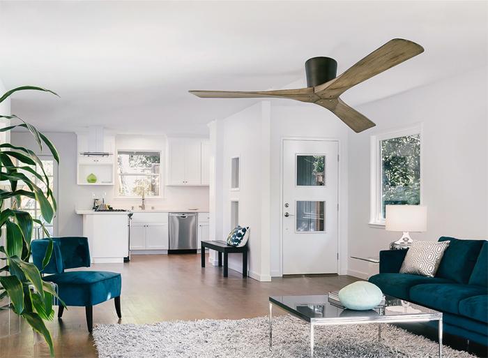 Quạt trần phù hợp cho trần nhà thấp là loại có ti quạt ngắn f]ới 30cm.