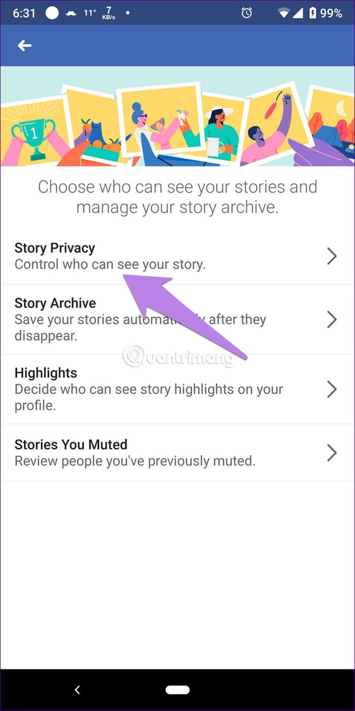 Chọn Story Privacy