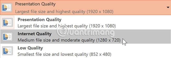 Chọn Presentation Quality