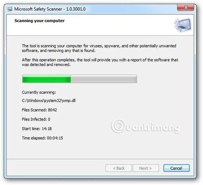 Chạy công cụ phát hiện phần mềm độc hại