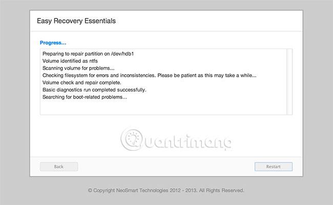 Đợi Easy Recovery Essentials hoàn tất quy trình