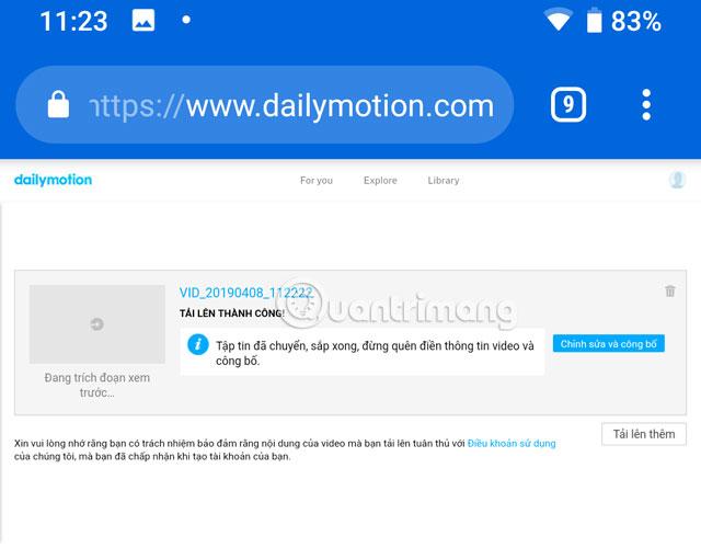Hướng dẫn up video lên Dailymotion trên điện thoại - Ảnh minh hoạ 10